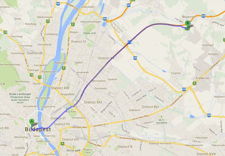 Map showing route from our Budapest Apartment to Hungarian Grand Prix - 28 minutes!