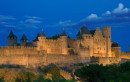 The walled city of Carcassonne by night